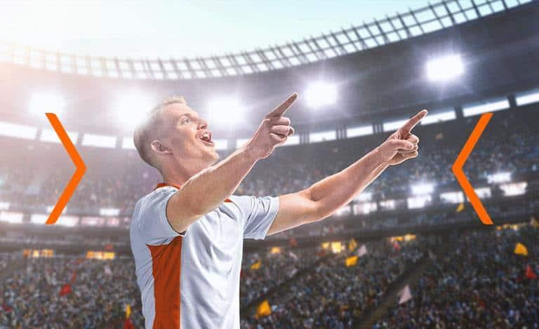 Fotbollsspelare firar seger